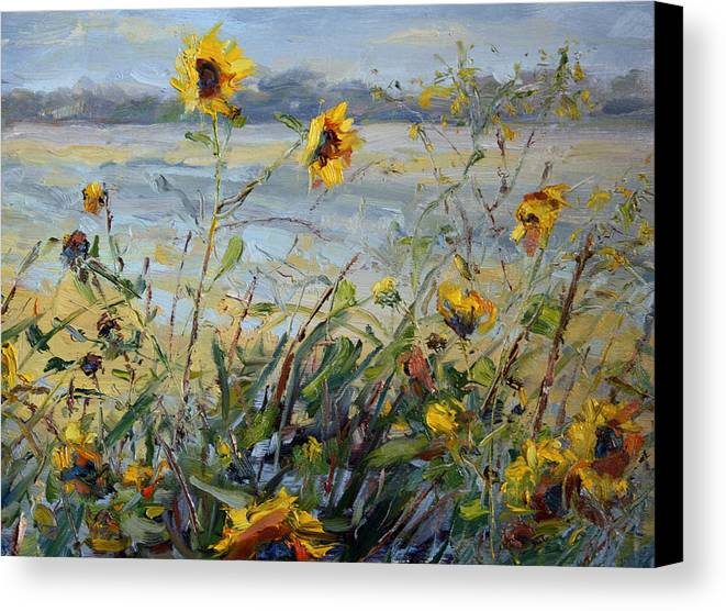 Flowers Canvas Print featuring the painting Blowing In The Wind by James Swanson