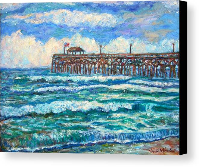Shore Scenes Canvas Print featuring the painting Breakers At Pawleys Island by Kendall Kessler