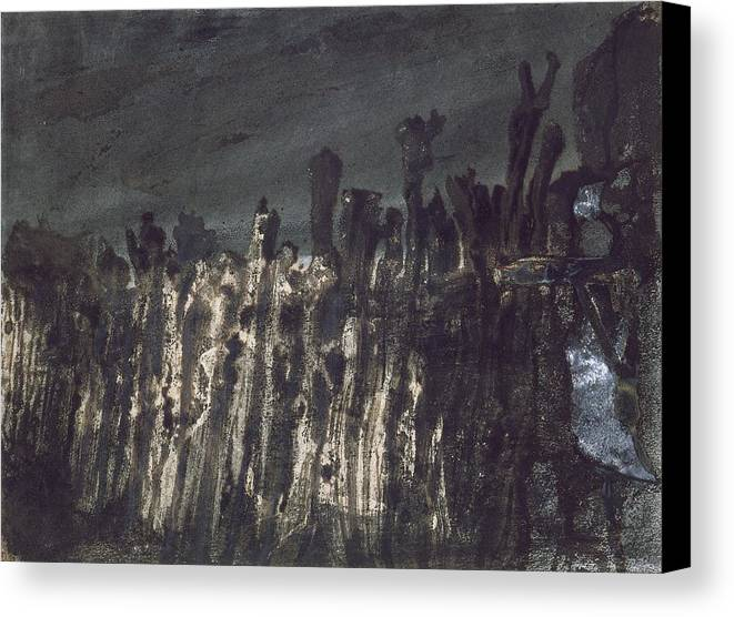Wooden Posts Canvas Print featuring the painting Breakwater In Jersey by Victor Hugo