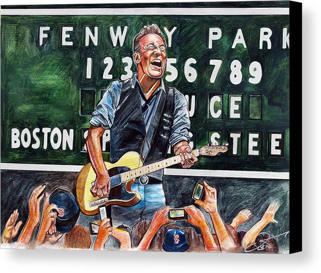 Bruce Springsteen Canvas Print featuring the drawing Bruce Springsteen At Fenway Park by Dave Olsen
