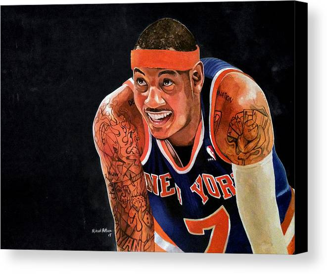 New York Knicks Canvas Print featuring the painting Carmelo Anthony - New York Knicks by Michael Pattison