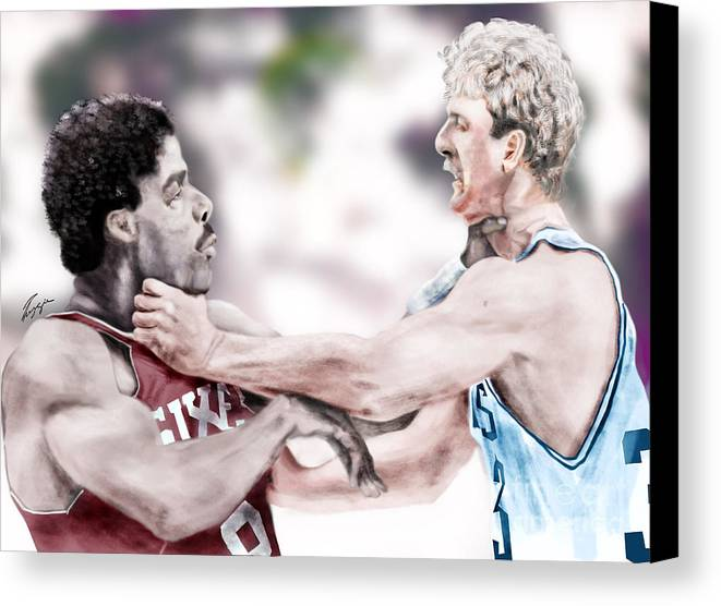 Sports Canvas Print featuring the painting Clash Of The Titans 1984 - Bird And Doctor J by Reggie Duffie