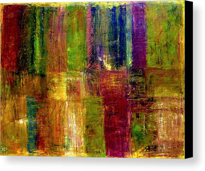 Abstract Canvas Print featuring the painting Color Panel Abstract by Michelle Calkins