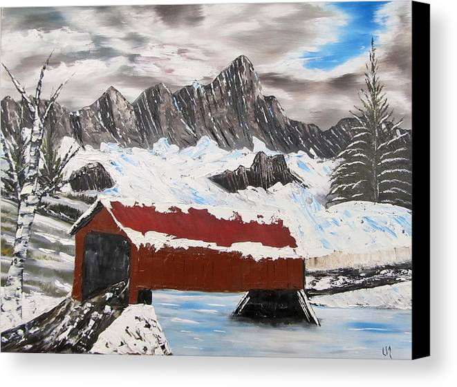 Vermont Canvas Print featuring the painting Covered Bridge by Larry Marano