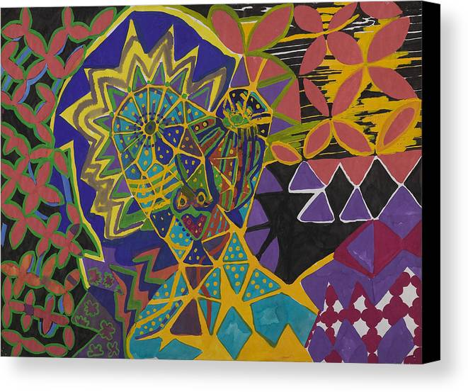 Pattern Canvas Print featuring the painting Crazy Woman by Sarah Eiger