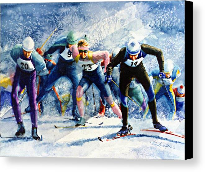 X-country Skiing Canvas Print featuring the painting Cross-country Challenge by Hanne Lore Koehler