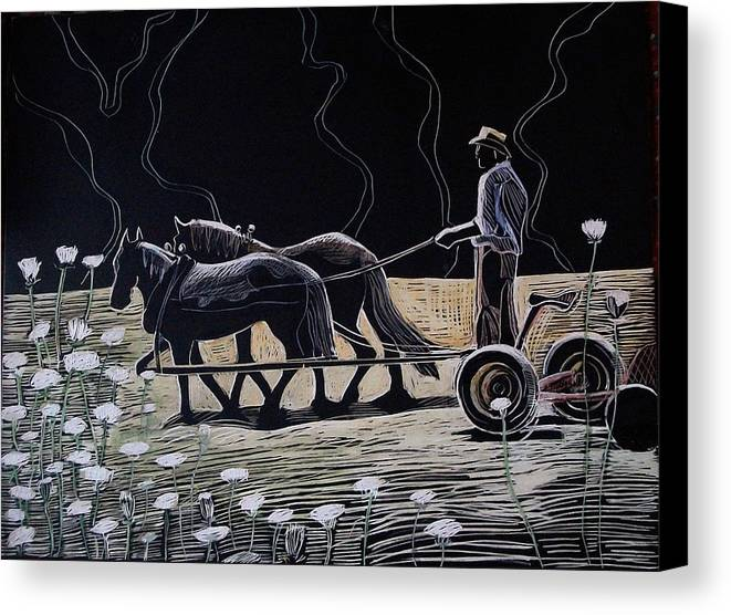 Maine Canvas Print featuring the drawing Dark And Light by Grace Keown