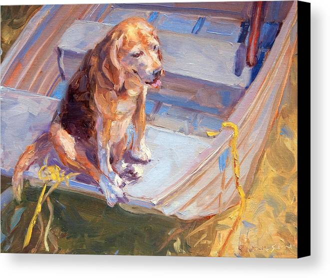 Dog Canvas Print featuring the painting Dog On Boat by James Swanson