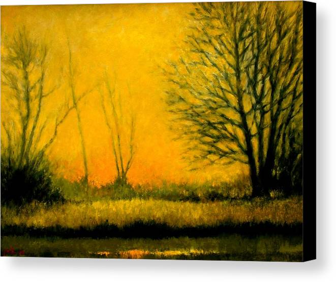Landscape Canvas Print featuring the painting Dusk At The Refuge by Jim Gola
