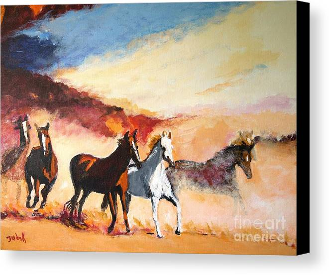 Horses Canvas Print featuring the painting Dust In The Wind by Judy Kay
