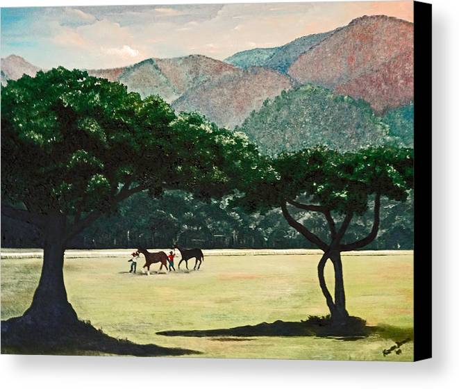 Trees Canvas Print featuring the painting Early Morning Savannah by Karin Dawn Kelshall- Best