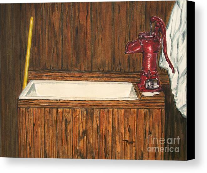 Farm Sink Canvas Print featuring the painting Farm Sink by Regan J Smith