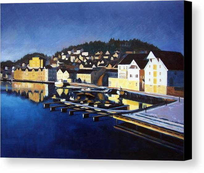 Seascape Canvas Print featuring the painting Farsund In Winter by Janet King