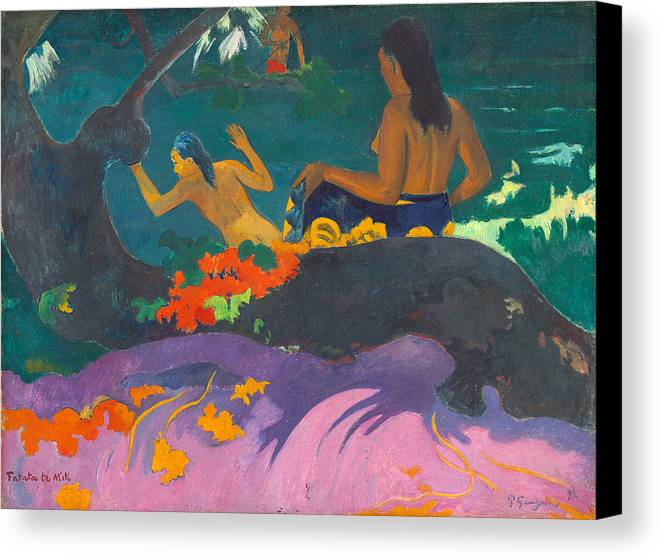 Paul Gauguin Canvas Print featuring the painting Fatata Te Miti.by The Sea by Paul Gauguin