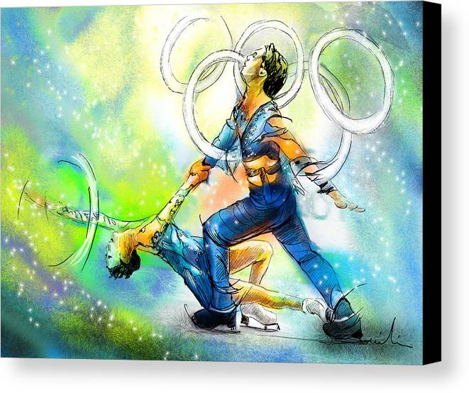 Sports Canvas Print featuring the painting Figure Skating 01 by Miki De Goodaboom