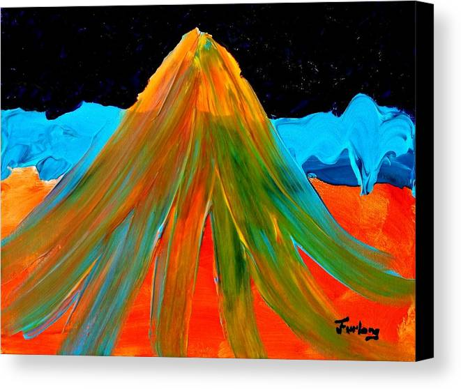 Colorfully Bright Mountain.....stark Contrasting Colors Canvas Print featuring the painting Fire Mountain 2 by Jim Furlong