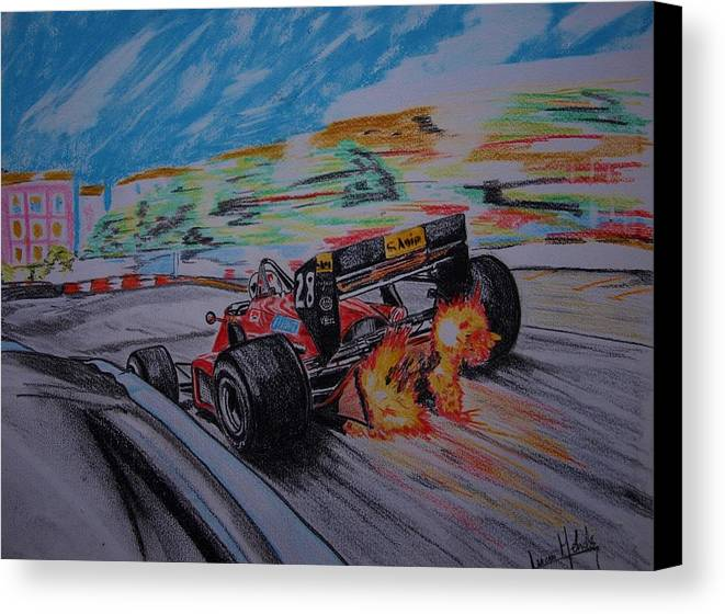Ferrari Canvas Print featuring the painting Flames by Juan Mendez