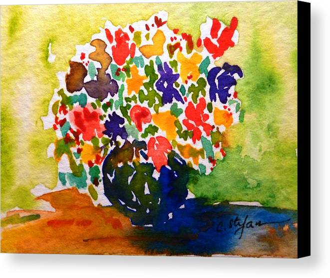 Vase Canvas Print featuring the painting Flowers In A Vase by Cristina Stefan