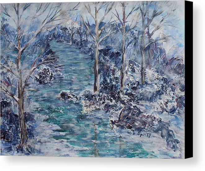 Canvas Print featuring the painting Freezing Over by William Spivey