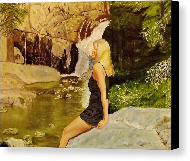 Girl Canvas Print featuring the painting Girl At Waterfall by Mike Caitham