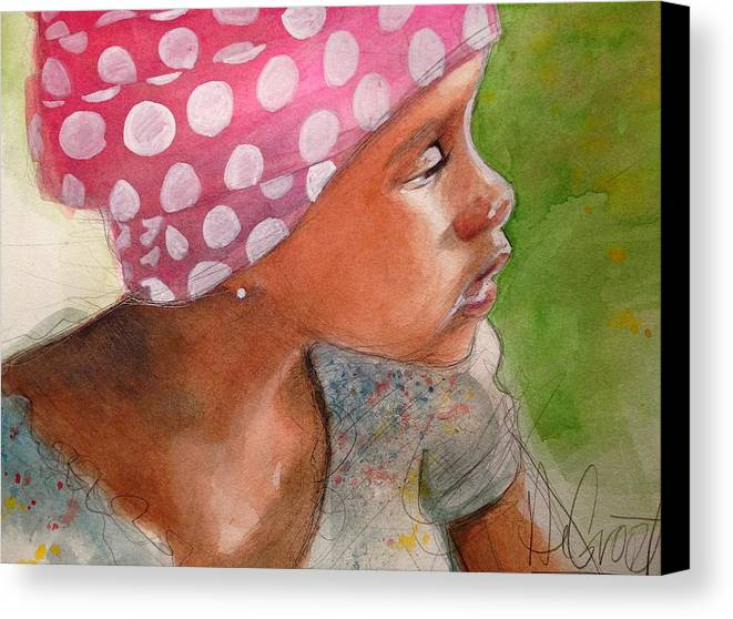 Polka Dots Canvas Print featuring the painting Girl In Pink Bandanna by Gregory DeGroat