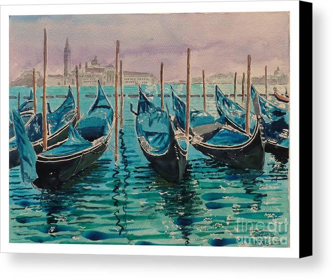 Gondolas Canvas Print featuring the painting Gondolas At The Pier Venice by Godwin Cassar