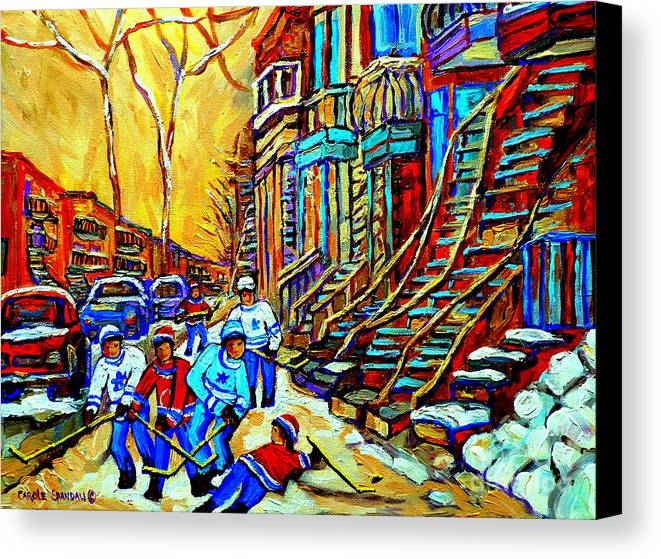 Montreal Canvas Print featuring the painting Hockey Art Montreal Winter Scene Winding Staircases Kids Playing Street Hockey Painting by Carole Spandau