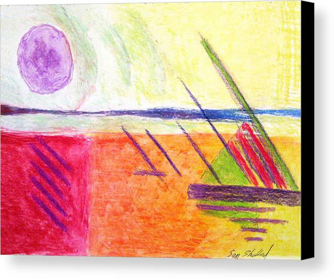 Hot Day Canvas Print featuring the drawing Hot Day At The Shore by Sam Shacked