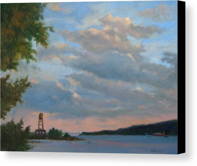 Hudson River Canvas Print featuring the painting Hudson River Skyscape by Phyllis Tarlow