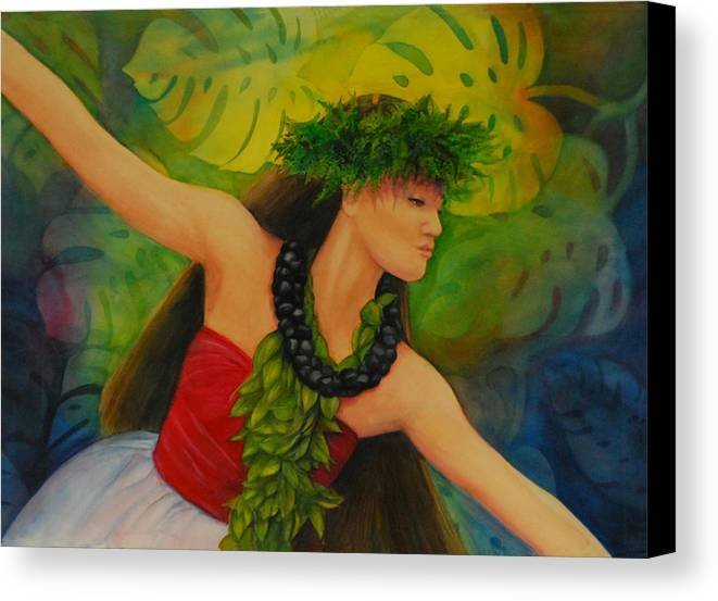 Floral Paintings Canvas Print featuring the painting Hulakahiko by Luane Penarosa