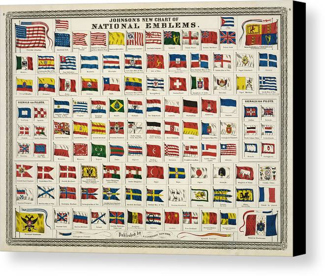 Countries Canvas Print featuring the digital art Johnsons New Chart Of National Emblems by Georgia Fowler