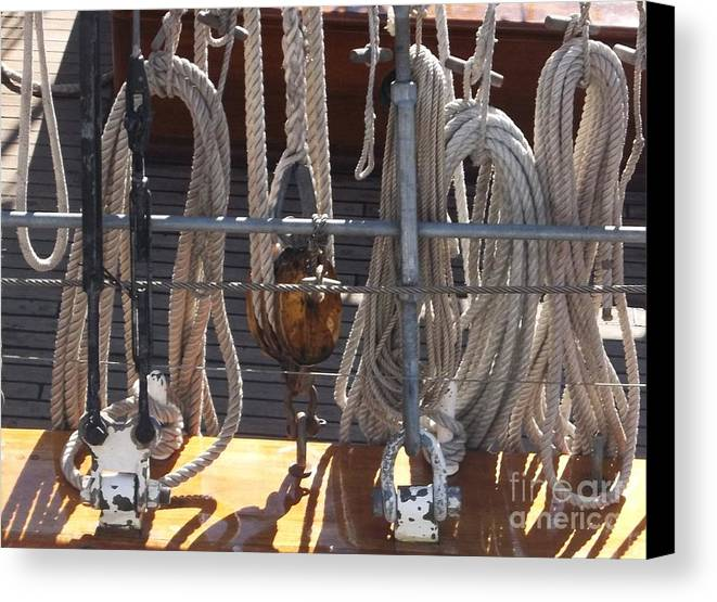 Boat Canvas Print featuring the photograph Knots Of Lines by Camille Brighten