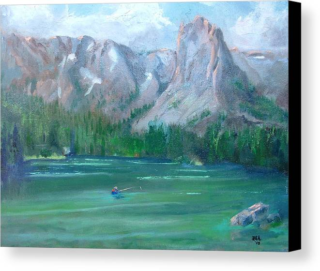 Landscape Canvas Print featuring the painting Lake Mamie by Bryan Alexander