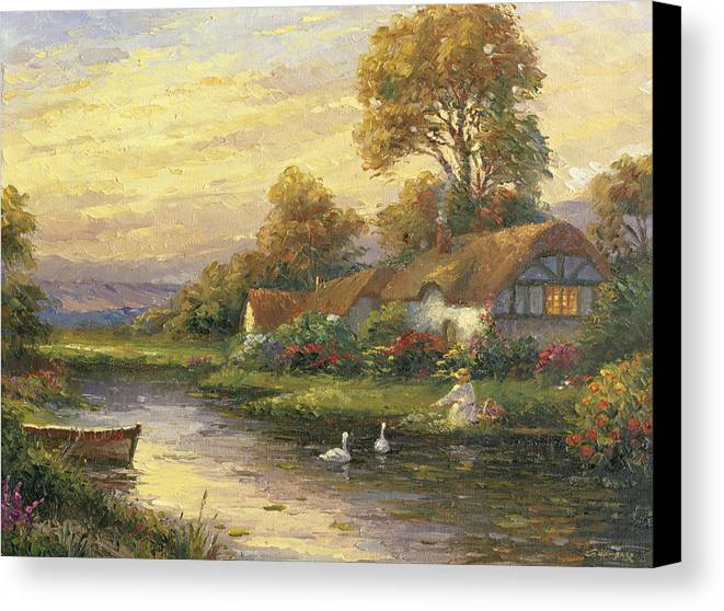 Woman Canvas Print featuring the painting Lakeside Cottage by Ghambaro