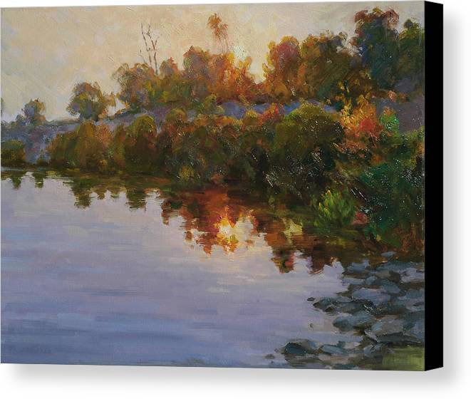 Lake Canvas Print featuring the painting Lakeside Evening by Kuen Tse
