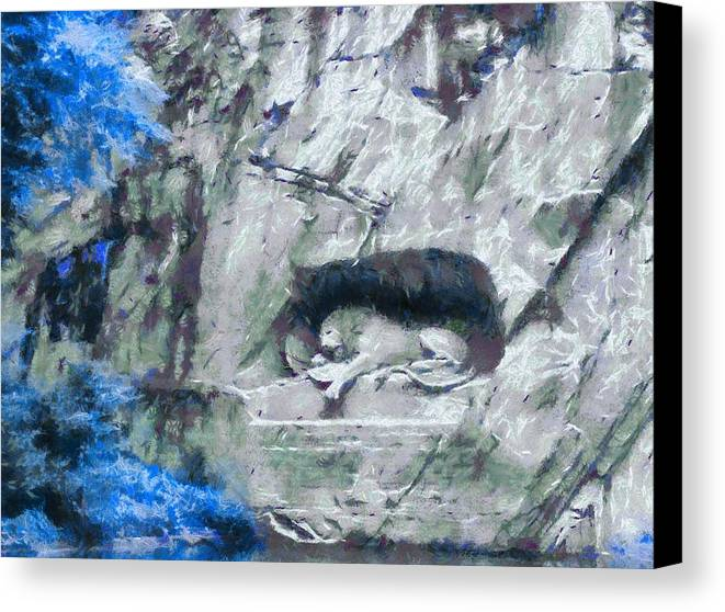Lion Of Lucerne Canvas Print featuring the painting Lion Of Lucerne by Dan Sproul