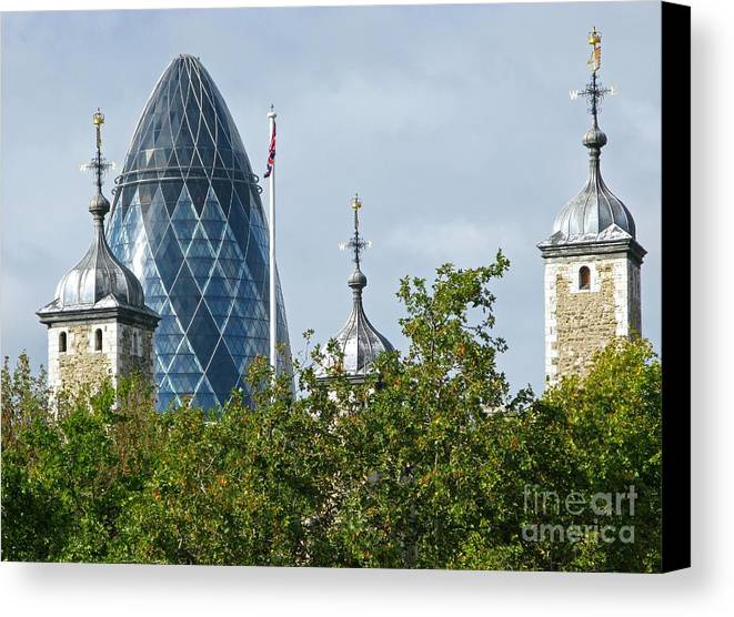 London Towers By Ann Horn Canvas Print featuring the photograph London Towers by Ann Horn