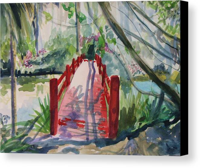 Landscape Canvas Print featuring the painting Magnolia Bridge by Emy Higgins