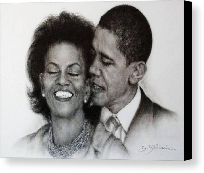 Michelle Et Barack Obama Canvas Print featuring the drawing Michelle Et Barack Obama by Guillaume Bruno