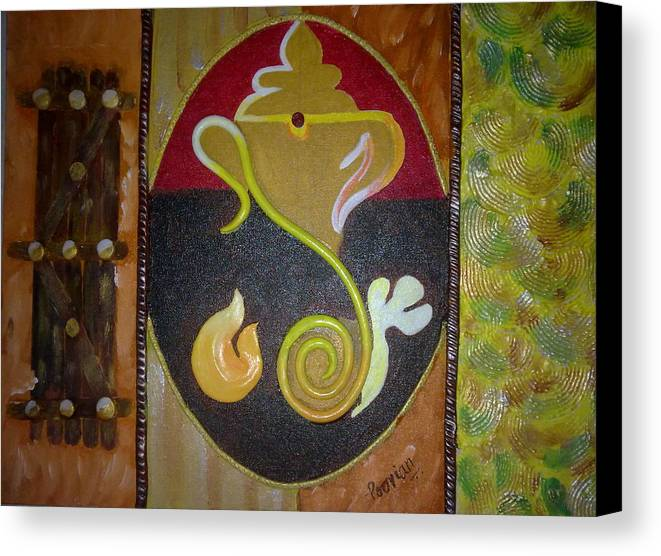 Modern Ganesha Paintings Canvas Print featuring the painting Mixed Media Ganesha by Poornima Ravi