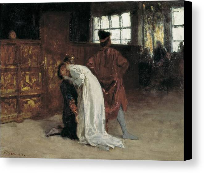 Horizontal Canvas Print featuring the photograph Morelli, Domenico 1826-1901. The Kiss by Everett