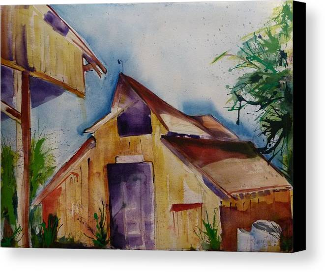 Watercolor Canvas Print featuring the painting Mo's Barn by Suzanne Willis