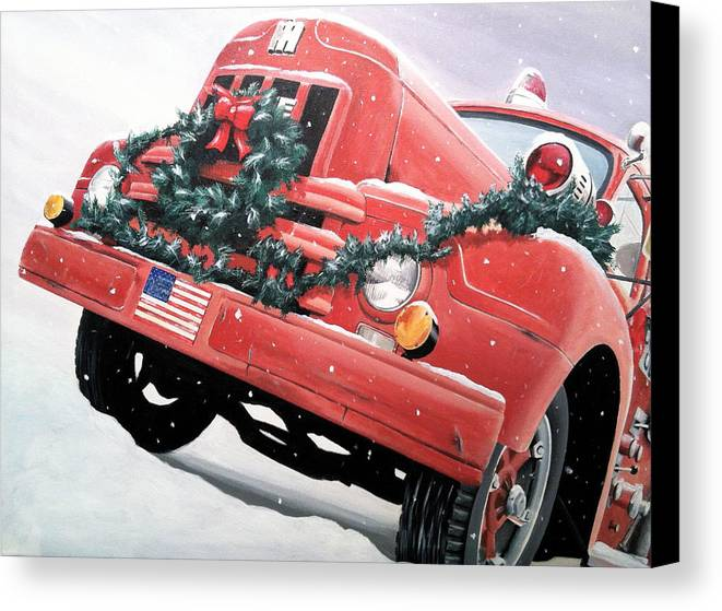 Vintage Firetruck Canvas Print featuring the painting Old Firetruck At Christmas by Branden Hochstetler