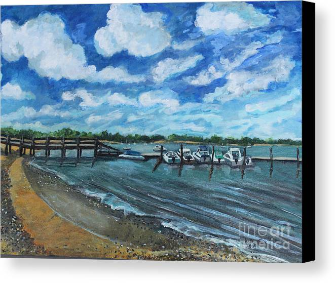 Seascape Canvas Print featuring the painting On The Dock In Great Harbors by Rita Brown
