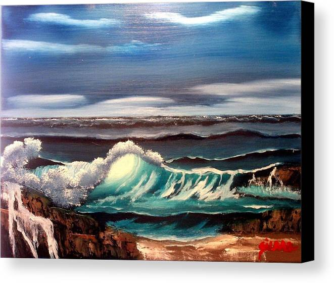 Seascape Canvas Print featuring the painting On The Rocks by Dina Sierra