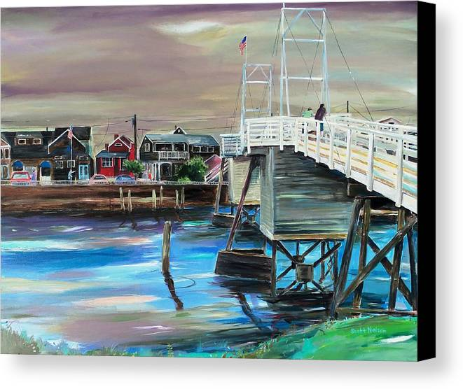 Perkin's Cove Canvas Print featuring the painting Perkins Cove Maine by Scott Nelson