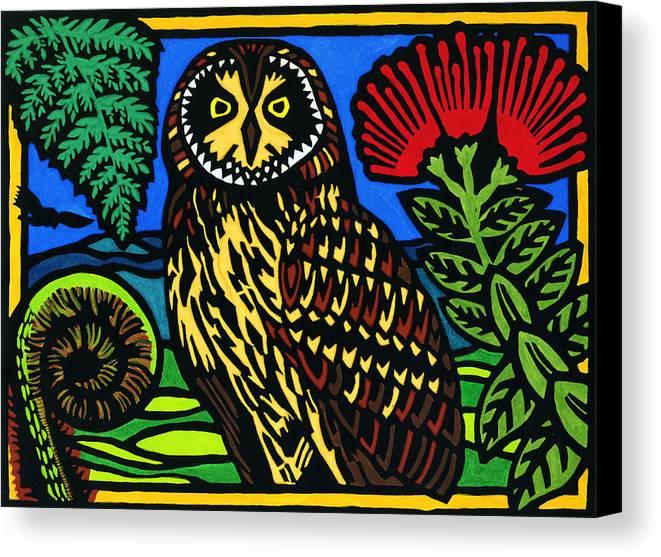 Hawaiian Pueo Canvas Print featuring the mixed media Pueo Mana by Lisa Greig