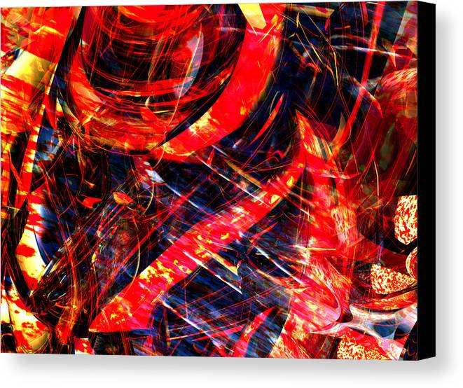 Digital Abstract Art Canvas Print featuring the digital art Red Wind by Digital Hiccup