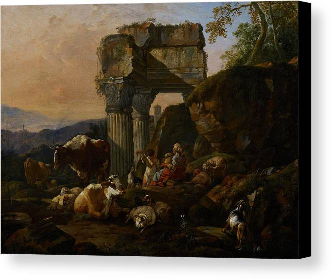 Roman Canvas Print featuring the painting Roman Landscape With Cattle And Shepherds by Johann Heinrich Roos