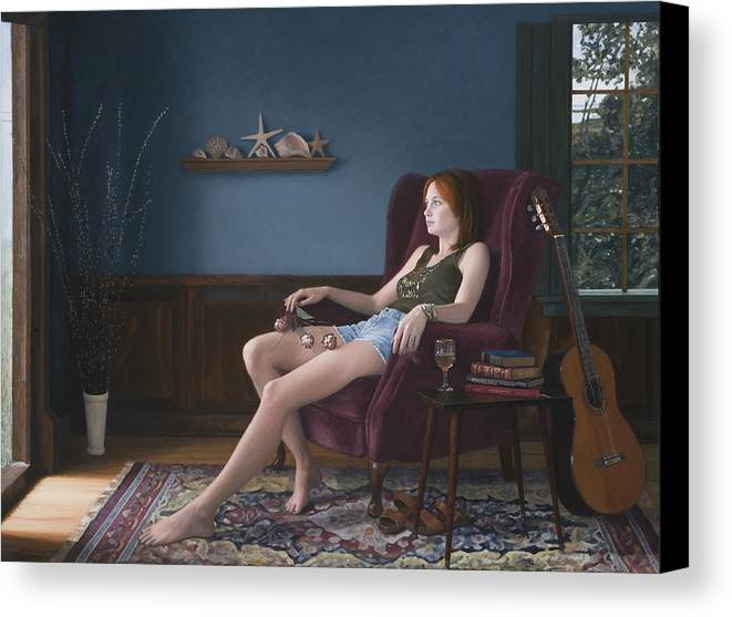Female Canvas Print featuring the painting Seashells And Guitar by Charles Pompilius